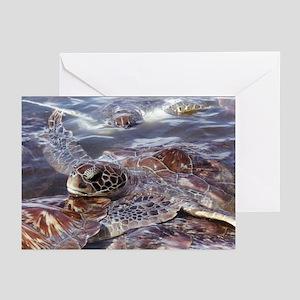 Green Turtles Greeting Cards (Pk of 10)