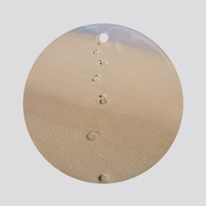 Footprints in sand Round Ornament