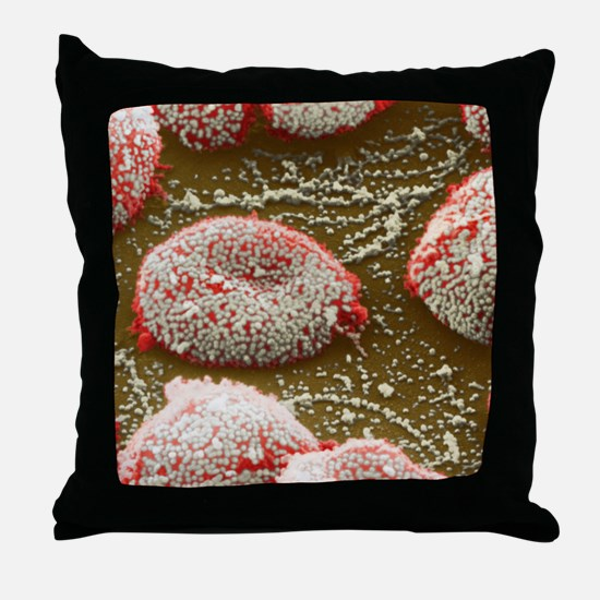 Flu virus particles on red blood cell Throw Pillow