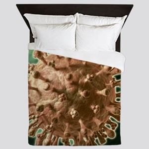 Flu virus particle, artwork Queen Duvet