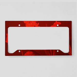 Flowers under red light License Plate Holder