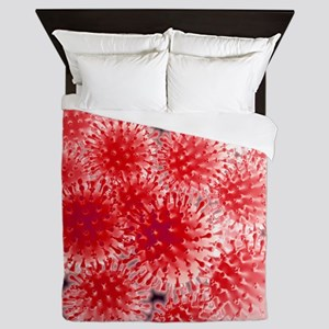 Flu virus particles, artwork Queen Duvet