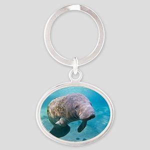 Florida manatee swimming Oval Keychain