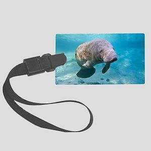 Florida manatee swimming Large Luggage Tag