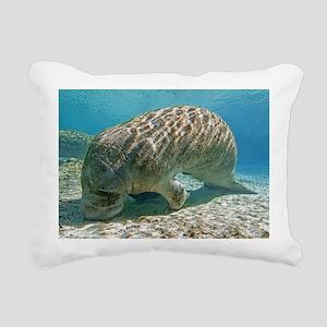 Florida manatee feeding Rectangular Canvas Pillow