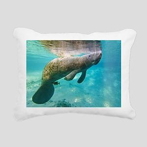 Florida manatee swimming Rectangular Canvas Pillow