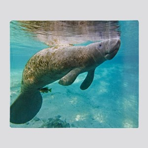 Florida manatee swimming Throw Blanket