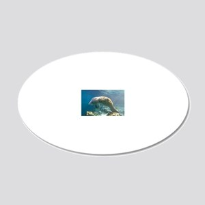 Florida manatee swimming 20x12 Oval Wall Decal