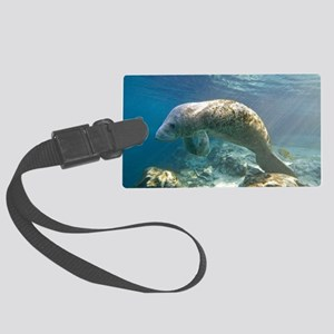 Florida manatee swimming Large Luggage Tag