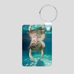 Florida manatee swimming Aluminum Photo Keychain