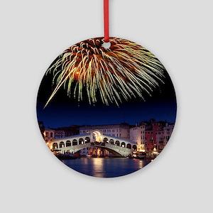 Fireworks display, Venice Round Ornament