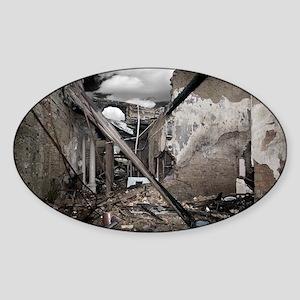 Fire destruction, artwork Sticker (Oval)