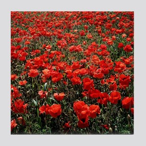 Field of red poppies Tile Coaster