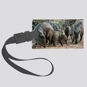 Family of Collared Peccaries Large Luggage Tag