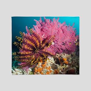 Featherstar on gorgonian coral Throw Blanket