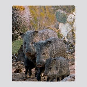 Family of Collared Peccaries Throw Blanket