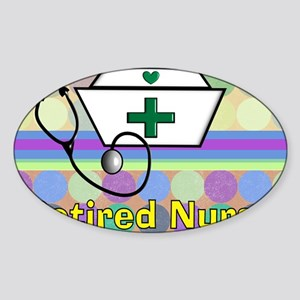 retired nurse serving tray blanket  Sticker (Oval)