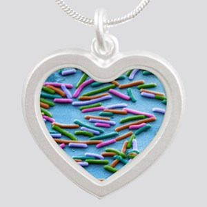 Escherichia coli bacteria, S Silver Heart Necklace