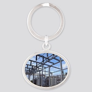 Electricity substation Oval Keychain