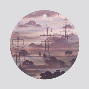Electricity pylons Round Ornament