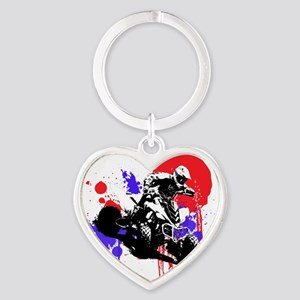Red Splatter ATV Heart Keychain