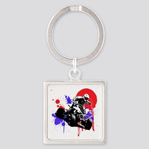 Red Splatter ATV Square Keychain