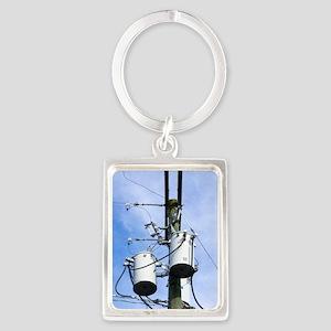 Electricity pole with transforme Portrait Keychain