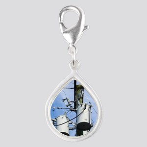 Electricity pole with trans Silver Teardrop Charm