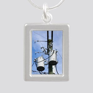 Electricity pole with tr Silver Portrait Necklace