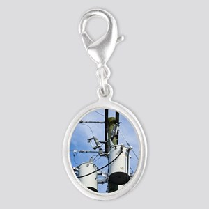 Electricity pole with transform Silver Oval Charm