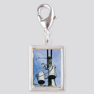 Electricity pole with transf Silver Portrait Charm