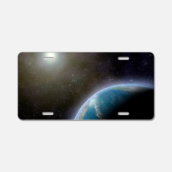 Earth from space, artwork Aluminum License Plate