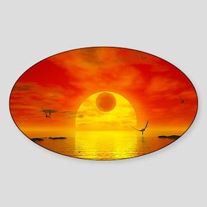 Earthlike planet Gliese 581 c, artw Sticker (Oval)