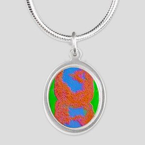 Ei bacterium dividing Silver Oval Necklace