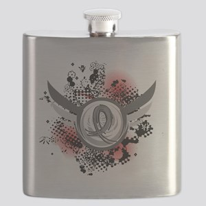 D Brain Cancer Grey Ribbon And Wings Flask