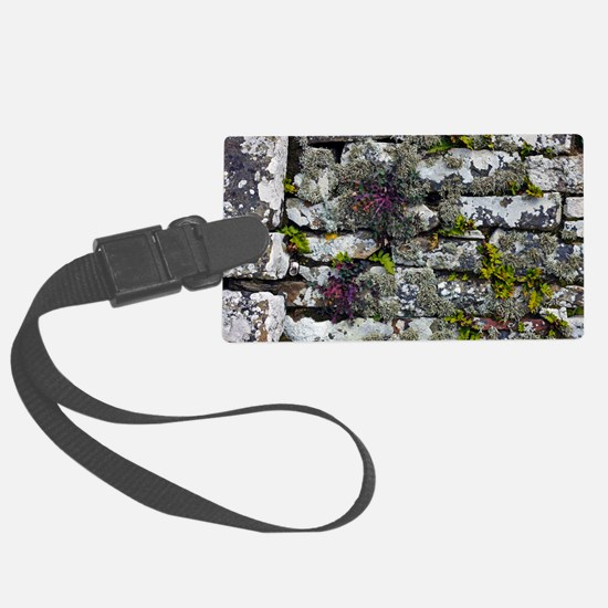 Drystone wall with plants Luggage Tag