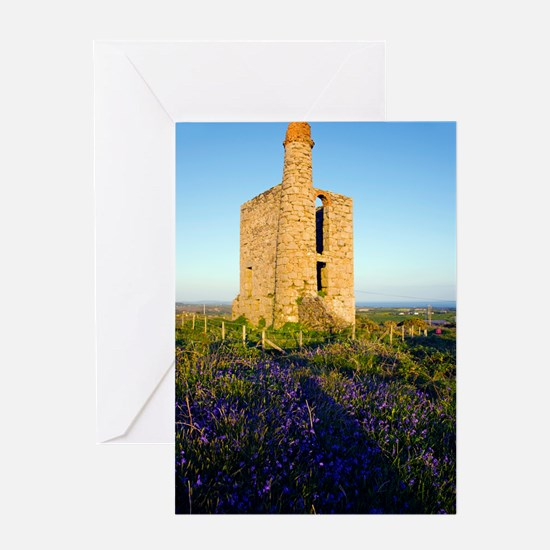 Disused mine engine house, Cornwall Greeting Card