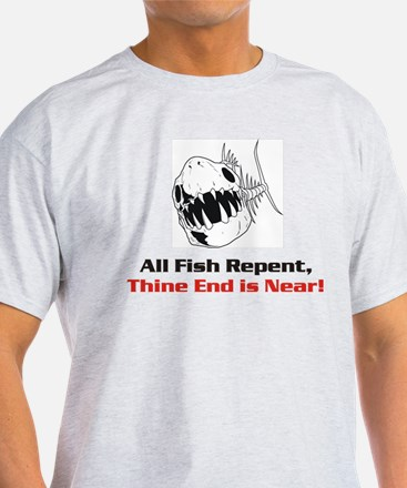 Fish Repent Ash Grey T-Shirt