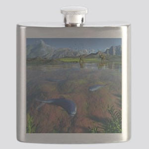 Creataceous animals, artwork Flask