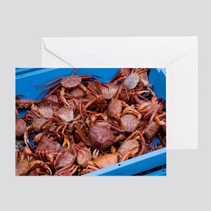 Crabs on the dockside Greeting Card