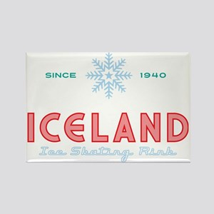 ICELAND Ice Skating Rink Snowflak Rectangle Magnet