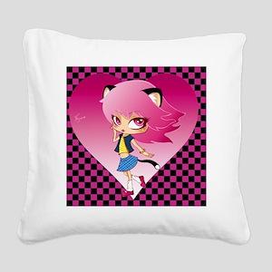 nyan pattern Square Canvas Pillow