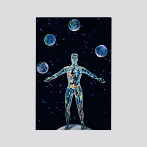 Cosmic man juggling worlds, artwo Rectangle Magnet