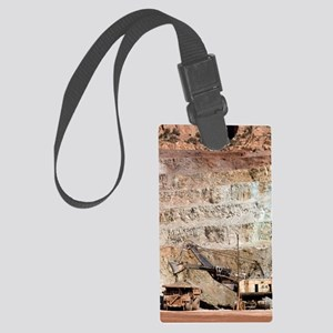 Copper mine excavator and truck Large Luggage Tag