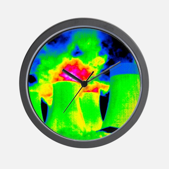 Cooling towers, thermogram Wall Clock