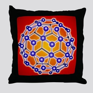 Computer graphic of a buckyball (C60) Throw Pillow
