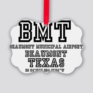 TEXAS - AIRPORT CODES - BMT - BEA Picture Ornament