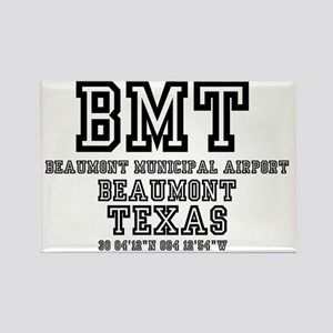 TEXAS - AIRPORT CODES - BMT - BEA Rectangle Magnet