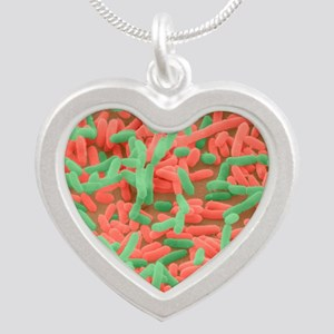 Coloured SEM of Escherichia  Silver Heart Necklace