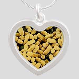 Colony of E. coli bacteria Silver Heart Necklace
